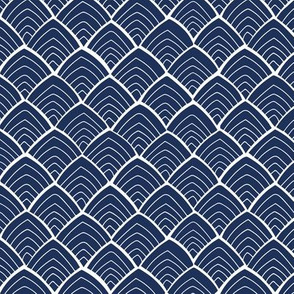 Dark blue repeat pattern with white abstract mountain