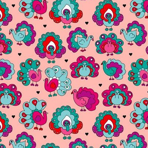 Purple india peacock birds illustration pattern  pink