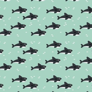 Sharks and fish swimming in the minty sea ocean marine love gender neutral SMALL