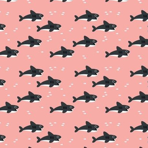 Sharks and fish swimming in the peach pink sea ocean marine love girls