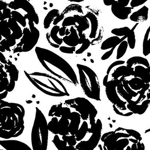 Painterly Black Floral Pattern