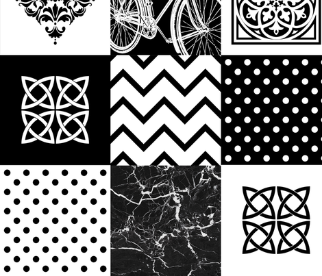 Bohemian Patch Black White Cheater Fake Quilt Wholecloth  fabric by delinda_graphic_studio on Spoonflower - custom fabric