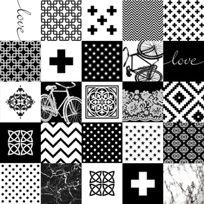 Bohemian Patch Black White Cheater Fake Quilt Wholecloth