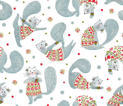 Pattern #99 - Yoga cats with knitted Fair Isle cardigans  fabric by irenesilvino on Spoonflower - custom fabric
