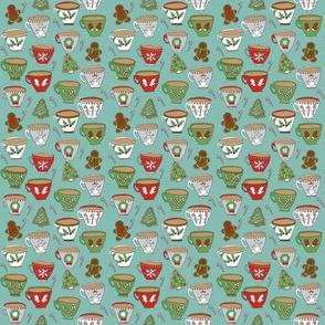 MINI - christmas mugs fabric - tea, cocoa, hot chocolate fabric, christmas mugs, christmas fabric, holiday fabric, xmas fabric - mint