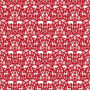 MINI Christmas folk fabric, scandi folk fabric, holiday fabric, linocut fabric, holiday animals fabric, - red
