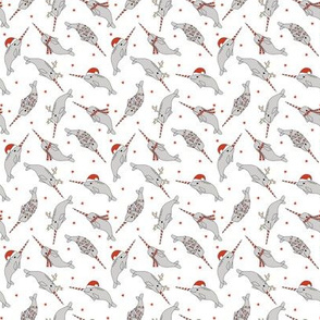 MINI christmas narwhal fabric - cute narwhal, narwhals, holiday, xmas, christmas fabric, christmas fabric by the yard - white