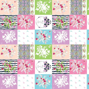 Wild & Free Shabby Chic bouquet quilt  SMALL 10 wholecloth