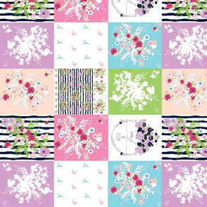 Wild & Free Shabby Chic bouquet quilt  MED14 wholecloth