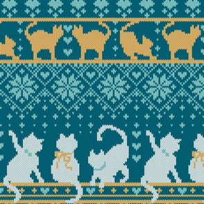 Fair Isle Knitting Cats Love // normal scale // teal background dark teal white and yellow kitties and details