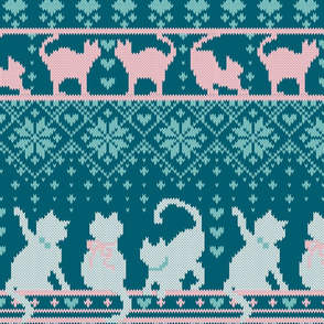 Fair Isle Knitting Cats Love // normal scale // teal background white and pink kitties and details