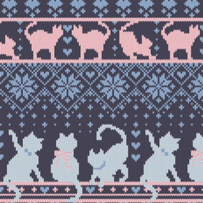 Fair Isle Knitting Cats Love // normal scale // dark violet background white and violet kitties and details
