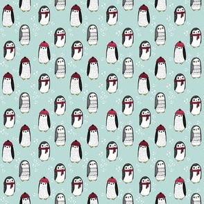 MINI christmas penguin fabric - christmas fabric, penguin fabric, winter fabric, tiny print, mini print, cute kawaii print, andrea lauren - light