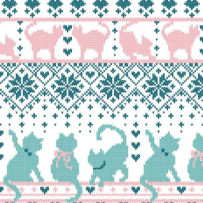 Fair Isle Knitting Cats Love // normal scale // white background teal and pink kitties and details