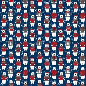 MINI christmas print - polar bear, winter, polar bear fabric, mini print, tiny print fabric, cute polar bear design, andrea lauren - navy