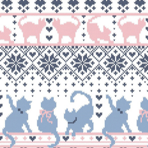 Fair Isle Knitting Cats Love // normal scale // white background violet and pink kitties and details