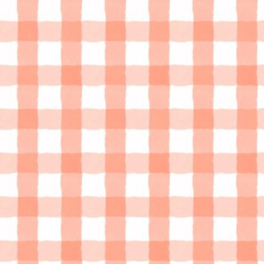 1 inch Hand-painted Watercolor Gingham Coral, pink and white, whimsical, plaid, sweet, kid, nursery, baby girl, stripes, checks,