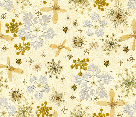 Holiday Snowflakes silver and gold fabric by mypetalpress on Spoonflower - custom fabric