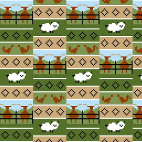 Fair Isle cattle sheep and chicken stripe 3a