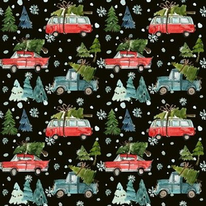 "4"" Santa's Other Ride // Woodland Trees Black"