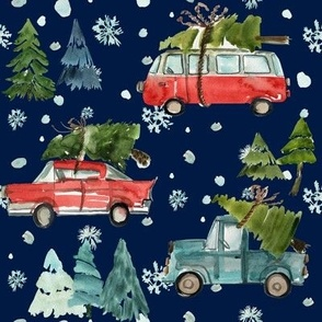"8"" Santa's Other Ride // Woodland Trees // Navy"