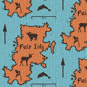 Fair Isle knitted map