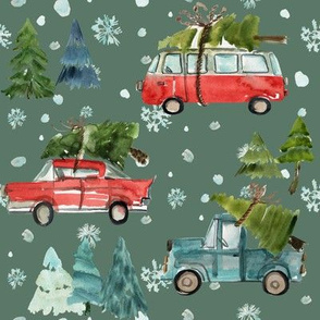 "8"" Santa's Other Ride // Woodland Trees // Corduroy Green"