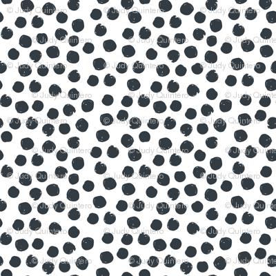 "8"" Steel Blue Polka Dots White Back"