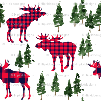 "4"" Woodland Moose Plaid // White"