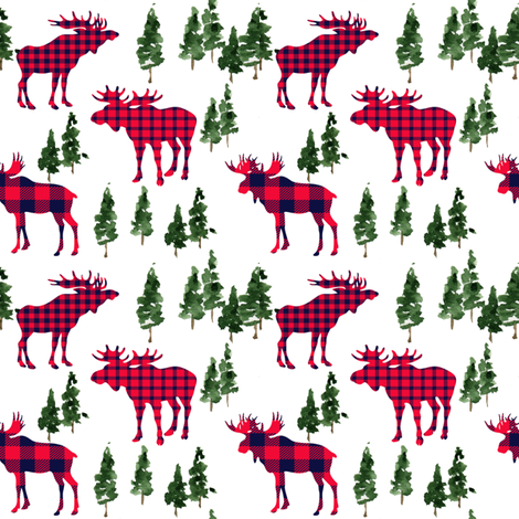 "4"" Woodland Moose Plaid // White fabric by hipkiddesigns on Spoonflower - custom fabric"