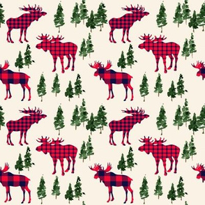 "4"" Woodland Moose in Plaid // Cream"