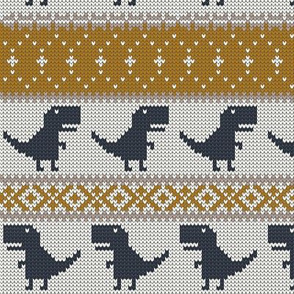 Dino Fair Isle - mustard & navy - T-rex winter knit
