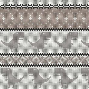 Dino Fair Isle - neutrals - T-rex winter knit