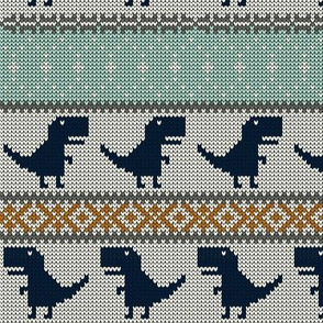 Dino Fair Isle - orange blue navy - T-rex winter knit