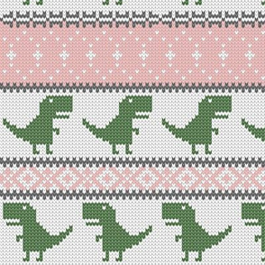 Dino Fair Isle - pink and green - T-rex winter knit