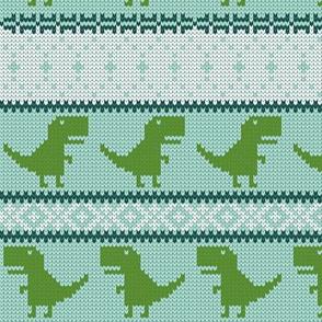 Dino Fair Isle - aqua and green - T-rex winter knit