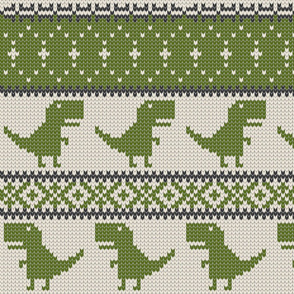 Dino Fair Isle - Green (large scale)