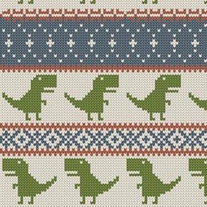 Dino Fair Isle - OG w/green - T-rex winter knit