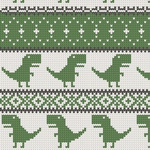 Dino Fair Isle - Grey &  Green - T-rex winter knit