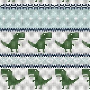 Dino Fair Isle - Green  & blue - T-rex winter knit