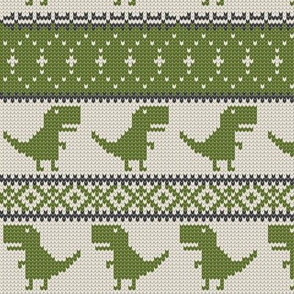 Dino Fair Isle - Green - T-rex winter knit
