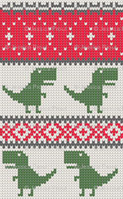 Dino Fair Isle - Red &  Green - T-rex winter knit