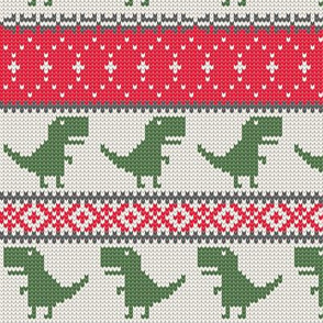 Dino Fair Isle - Red &  Green - T-rex winter knit