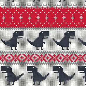 Dino Fair Isle - Red and blue - T-rex winter knit