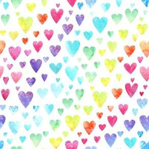Watercolour Rainbow Hearts #2 - rotated