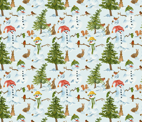 A Snowy Day fabric by laura_mooney on Spoonflower - custom fabric
