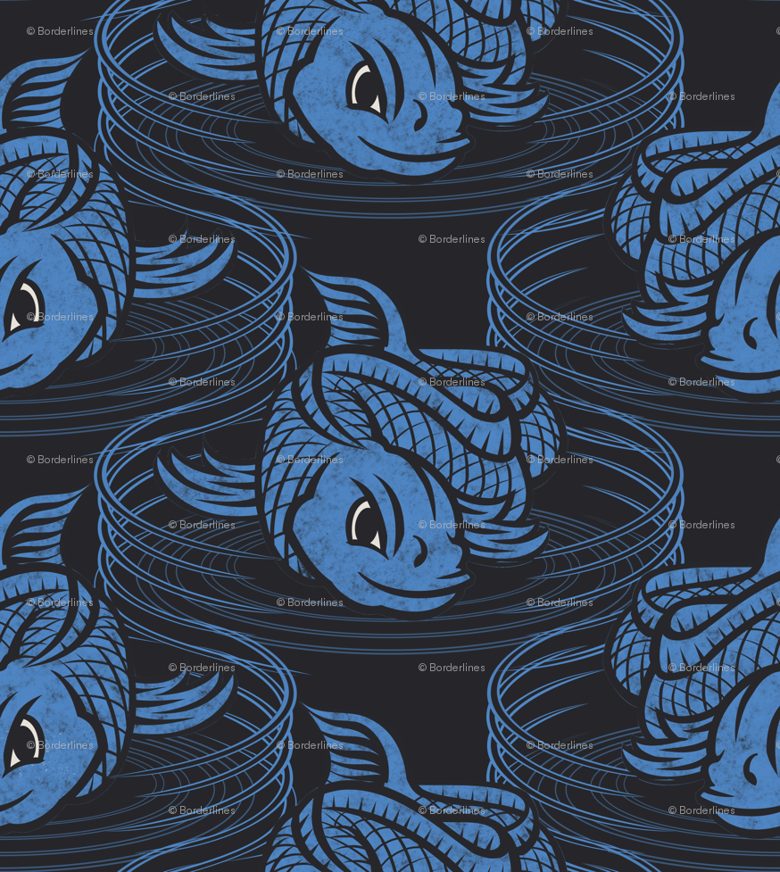 ☆ KOI FISH INVASION ☆ Black & Blue - Large Scale / Collection : Japanese Koi Block Print wallpaper - borderlines - Spoonflower