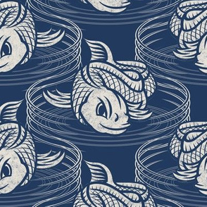 ★ KOI FISH INVASION ★ Navy Blue & White - Large Scale / Collection : Japanese Koi Block Print