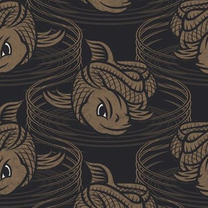 ★ KOI FISH INVASION ★ Black & Taupe - Large Scale / Collection : Japanese Koi Block Print