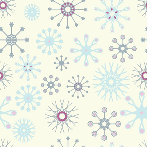 Blue and grey snowflakes on yellow background